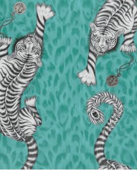 Papier peint Clarke & Clarke Animalia Tigris Sarcelle W0105 /05