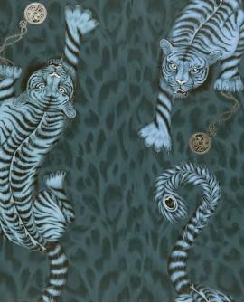 Papier peint Clarke & Clarke Animalia Tigris Navy W0105 /03