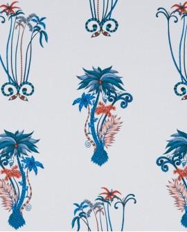 Papier peint Clarke & Clarke Animalia Jungle Palms Blue W0101/ 01