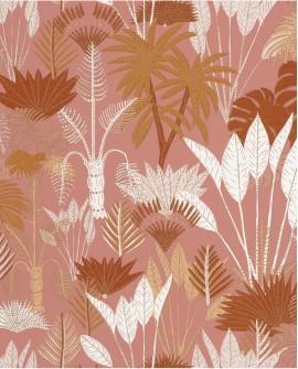 Papier peint tropical Caselio Odyssée Philippines Rose/terracota/doré OYS101414105