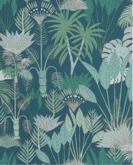Papier peint tropical Caselio Odyssée Philippines Bleu/vert/doré OYS101416119