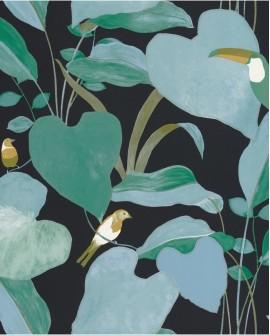 Papier peint tropical Caselio Odyssée Amazonia Noir/vert/doré OYS101427922