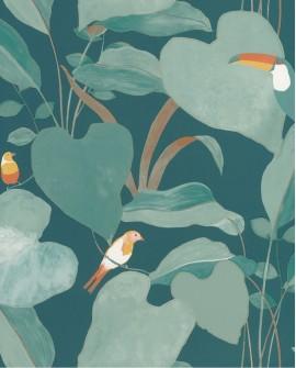 Papier peint tropical Caselio Odyssée Amazonia Bleu/vert/orange/doré OYS101426803