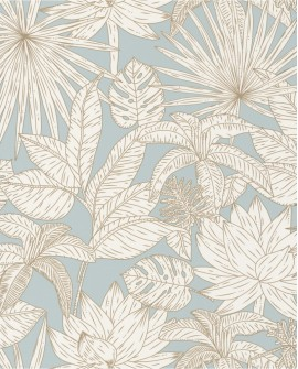 Papier peint tropical Caselio Odyssée Hawai Bleu/doré OYS101436109