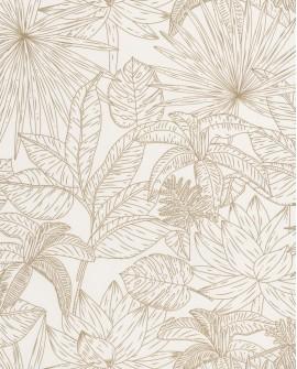 Papier peint tropical Caselio Odyssée Hawai Blanc/doré OYS101430020