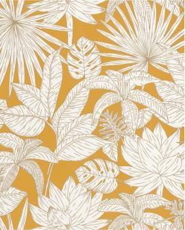 Papier peint tropical Caselio Odyssée Hawai Jaune/doré OYS101432216