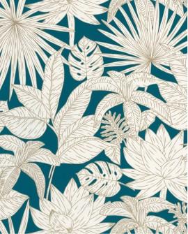 Papier peint tropical Caselio Odyssée Hawai Bleu/doré OYS101436625