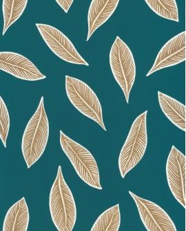 Papier peint tropical Caselio Odyssée Gabon Bleu/doré OYS101446733