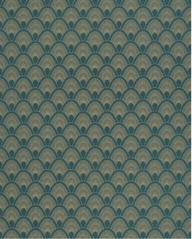 Papier peint art déco Caselio Odyssée Mayotte Bleu/doré OYS101456903