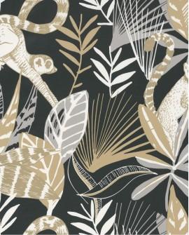 Papier peint tropical Caselio Odyssée Madagascar Noir/beige/doré OYS101409911