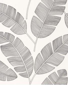 Papier peint tropical Caselio Moonlight Banana Tree Noir et blanc MLG101099007
