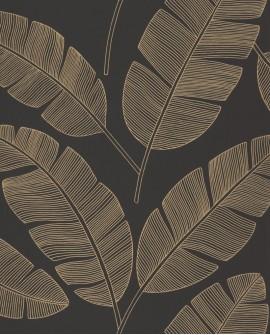 Papier peint tropical Caselio Moonlight Banana Tree Noir et or MLG101102090
