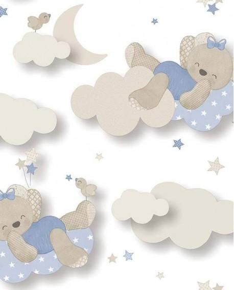 Papier peint Lutèce Babyland Miss Nounours Bleu 5403
