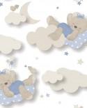 Papier peint enfant Lutèce Babyland Miss Nounours Bleu 5403