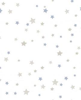 Papier peint enfant Lutèce Babyland Etoiles Beige et Bleu 5439