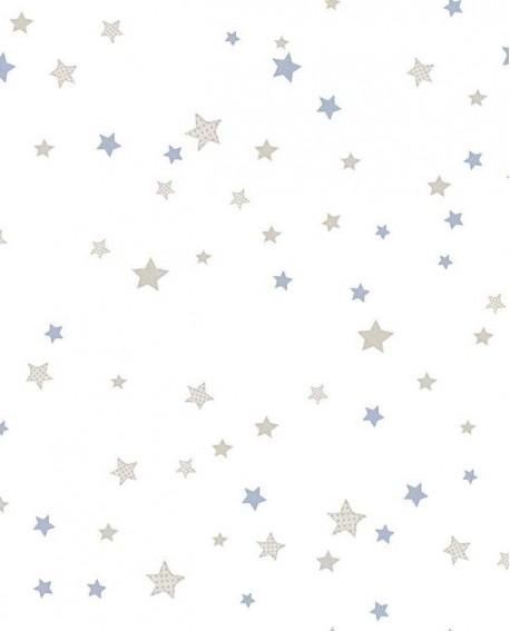 Papier peint Lutèce Babyland Etoiles Beige et Bleu 5439