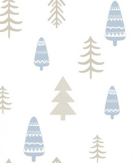 Papier peint enfant Lutèce Babyland Sapins Beige et bleu 5466