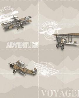 Papier peint enfant Lutèce Babyland Avion aventure Beige 5413