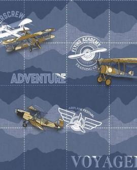 Papier peint enfant Lutèce Babyland Avion aventure Bleu 5415