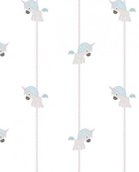 Papier peint Lutèce Babyland Licornes Beige et bleu 5456