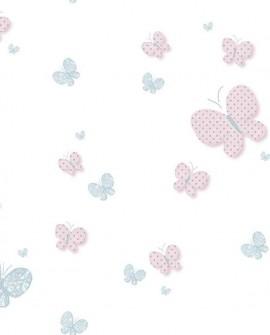 Papier peint Lutèce Babyland Papillons Rose et céleste 5459