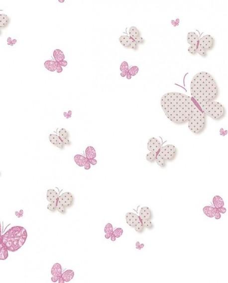Papier peint Lutèce Babyland Papillons Rose et beige 5458