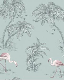 Papier peint tropical Holden Imaginarium Flamingo Lake Duck Egg/pink 12380