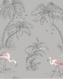 Papier peint tropical Holden Imaginarium Flamingo Lake Grey/Coral 12381