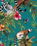 Papier peint tropical Holden Imaginarium Lemur Teal/multi 12402