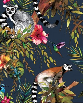 Papier peint tropical Holden Imaginarium Lemur Blue/multi 12403
