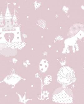 Papier peint enfant Lutèce Babyland Princesse Rose 5461