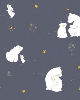 Papier peint enfant Lutèce Babyland Oursons Bleu ND21100