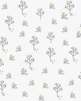 Papier peint enfant Lutèce Babyland Arbres Gris et jaune ND21103