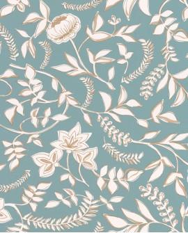 Papier peint floral Casélio Mystery Honour Bleu dore MYY101586007