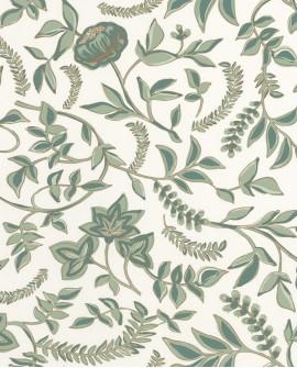 Papier peint floral Casélio Mystery Honour Vert d'eau/dore MYY101587432