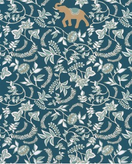 Papier peint floral Casélio Mystery Wisdom Bleu canard MYY101596501