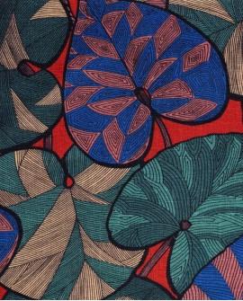 Tissu Thevenon Idris bleu vert fond brique 2310812