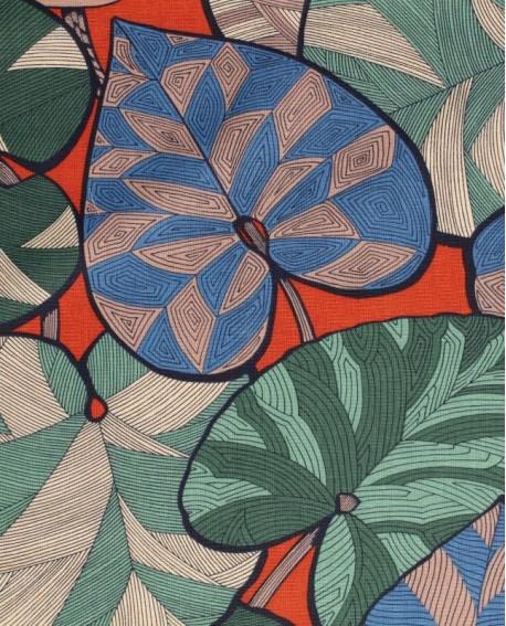 Tissu Thevenon Idris bleu et vert fond brique 2310602