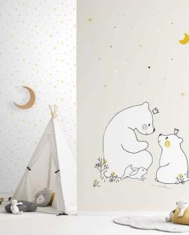 Papier peint enfant Lutèce Babyland Etoiles Gris et jaune ND21143