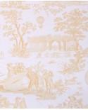 Papier Peint Toile de Jouy Charles Burger Ballon de Gonesse Or