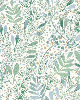Papier peint botanique Green Life Joy Vert et bleu grisé GNL101697620