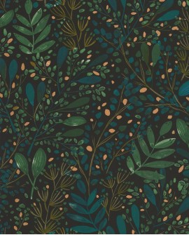 Papier peint botanique Green Life Joy Vert bleu fond noir GNL101697692