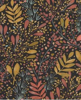 Papier peint botanique Green Life Joy Rose ocre fond noir GNL101694129