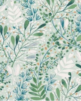 Papier peint botanique Green Life Joy Vert bleu fond vert GNL101697672