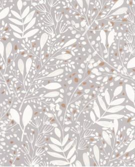 Papier peint botanique Green Life Joy Blanc et or fond gris GNL101699002