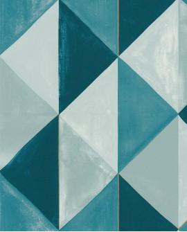 Papier peint géométrique Green Life Plénitude Bleu or GNL101706027