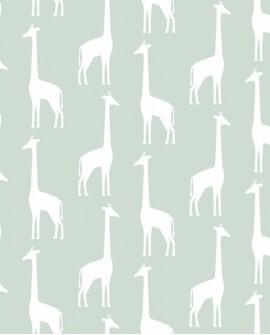 Papier peint enfants Let's Play! Esta Home Girafes Vert menthe 139058