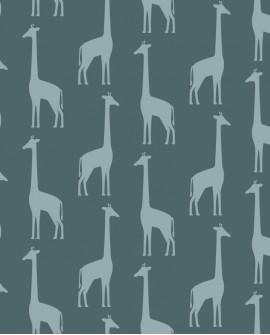 Papier peint enfants Let's Play! Esta Home Girafes Bleu grisé 139061