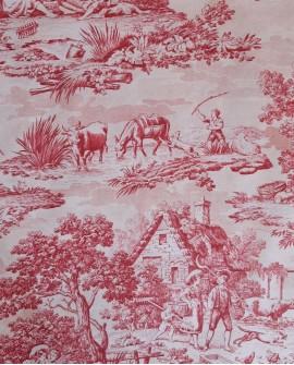 Tissu MFTA Toile de Jouy Matin Midi Soir coloris Rouge