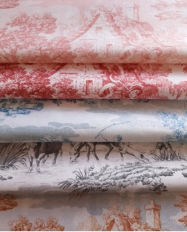 Tissu MFTA Toile de Jouy Matin Midi Soir coloris Rose poudre